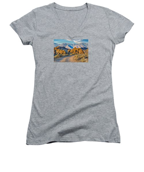 Near Sunset In The Alabama Hills Women's V-Neck T-Shirt