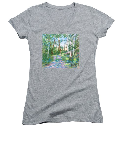 Near The Dingle Tower Halifax  Women's V-Neck T-Shirt (Junior Cut) by Rae  Smith