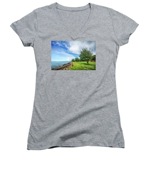 Women's V-Neck T-Shirt (Junior Cut) featuring the photograph Near The Shore by Charuhas Images