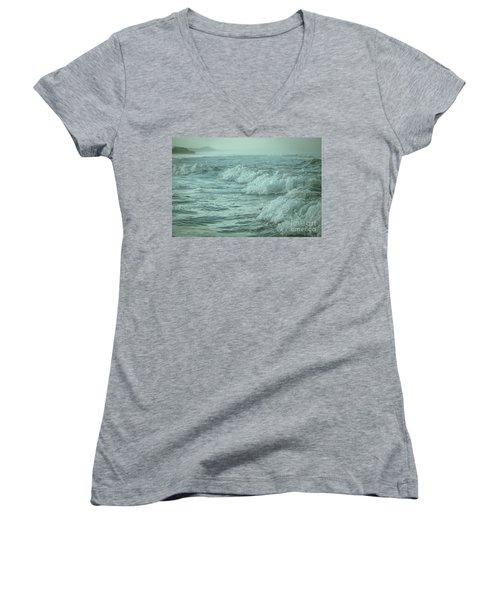 Near Waves Women's V-Neck T-Shirt (Junior Cut) by Iris Greenwell