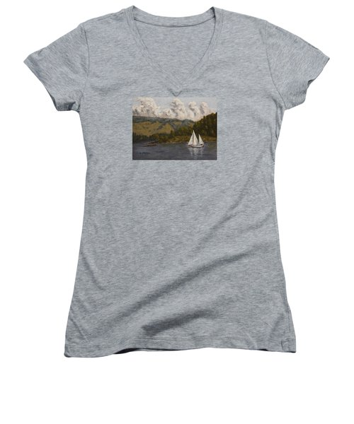 Nearing The Point Women's V-Neck T-Shirt (Junior Cut) by Alan Mager