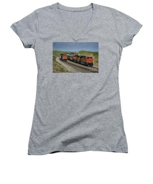 Nebraska Coal Trains Women's V-Neck T-Shirt (Junior Cut) by Garry McMichael