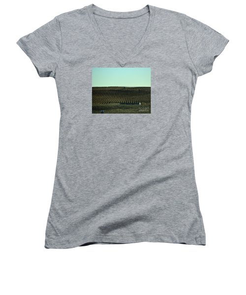 Women's V-Neck T-Shirt (Junior Cut) featuring the photograph Nebraska Corn Rows by Mark McReynolds