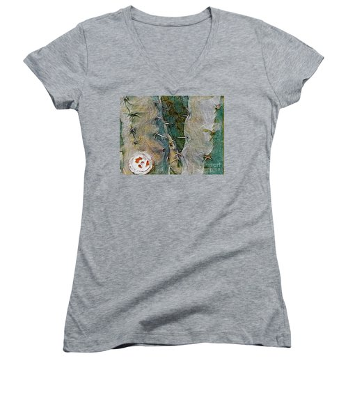 Women's V-Neck T-Shirt (Junior Cut) featuring the photograph Needles In The Desert by Kathie Chicoine