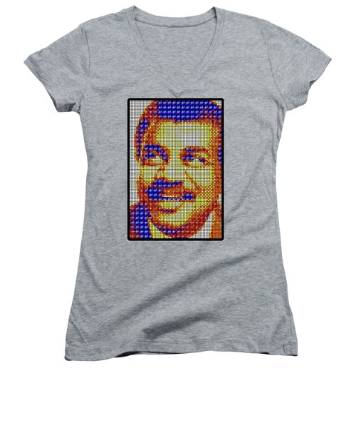 Women's V-Neck T-Shirt featuring the digital art Neil Degrasse Tyson Art Mosaic by Shawn Dall