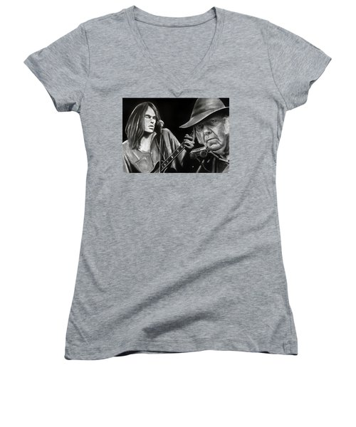 Neil Young And Neil Old Women's V-Neck (Athletic Fit)