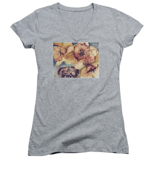 Women's V-Neck T-Shirt (Junior Cut) featuring the painting Nellie Mae by Mindy Newman