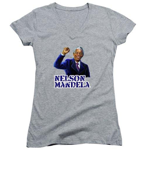 Nelson Mandela Women's V-Neck T-Shirt