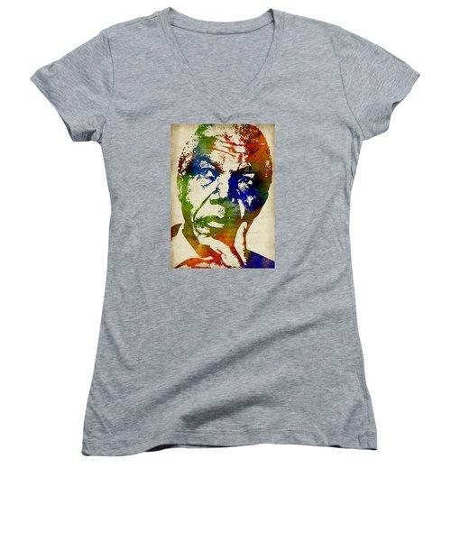 Nelson Mandela Watercolor Women's V-Neck T-Shirt (Junior Cut) by Mihaela Pater