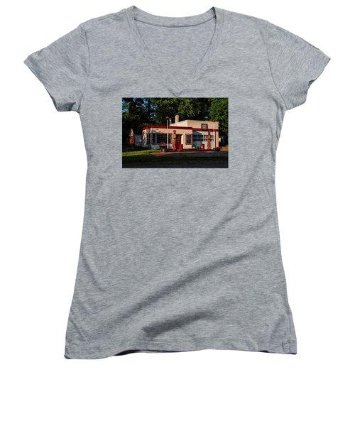 Nelsonville Phillips 66 Women's V-Neck T-Shirt (Junior Cut) by Trey Foerster