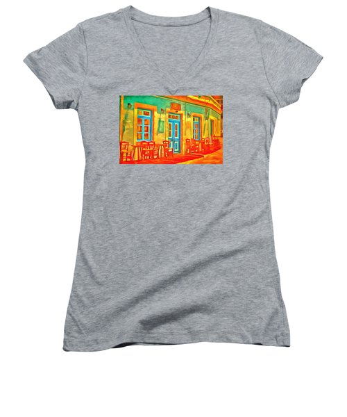 Women's V-Neck featuring the painting neon Cafe by Harry Warrick