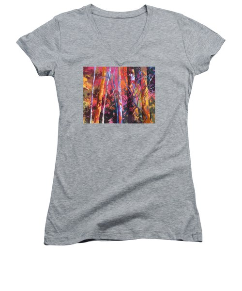 Women's V-Neck T-Shirt (Junior Cut) featuring the painting Neon Damsels by Rae Andrews
