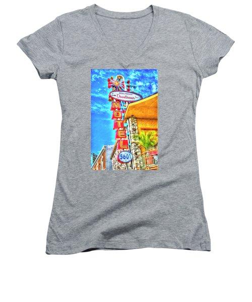 Neon Motel Sign Women's V-Neck T-Shirt (Junior Cut) by Jim and Emily Bush