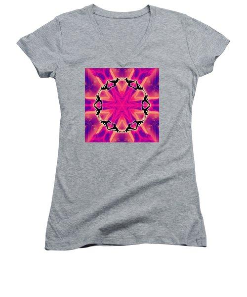 Women's V-Neck T-Shirt featuring the digital art Neon Slipstream by Derek Gedney