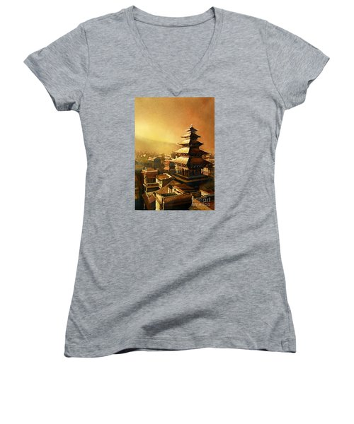 Nepal Temple Women's V-Neck T-Shirt (Junior Cut) by Ryan Fox