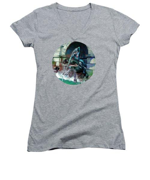 Neptune Nymph 2 Women's V-Neck T-Shirt (Junior Cut) by Robert G Kernodle