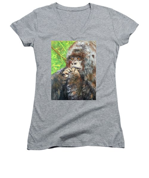 Nervous Mama Gorilla Women's V-Neck