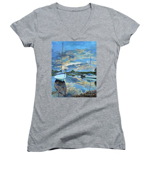 Women's V-Neck T-Shirt featuring the painting Nestled In For The Night At Mylor Bridge - Cornwall Uk - Sailboat  by Jan Dappen