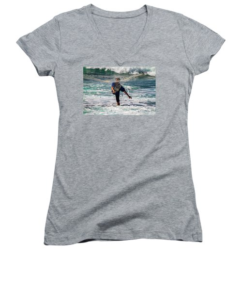 Women's V-Neck T-Shirt (Junior Cut) featuring the photograph Net Fishing by Roger Mullenhour