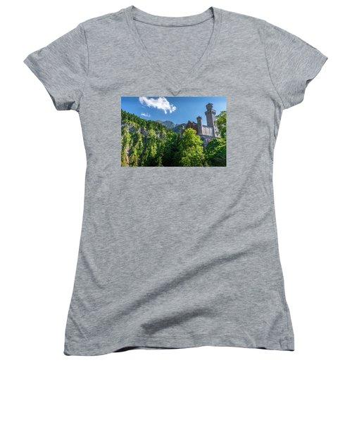 Women's V-Neck T-Shirt (Junior Cut) featuring the photograph Neuschwanstein Castle by David Morefield