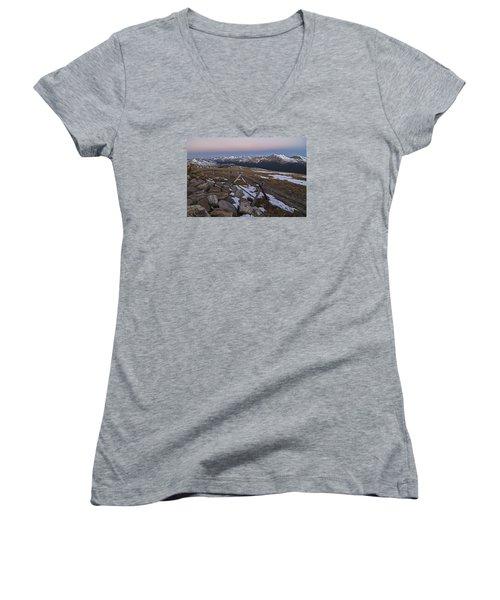 Women's V-Neck T-Shirt (Junior Cut) featuring the photograph Never Summer Range by Gary Lengyel
