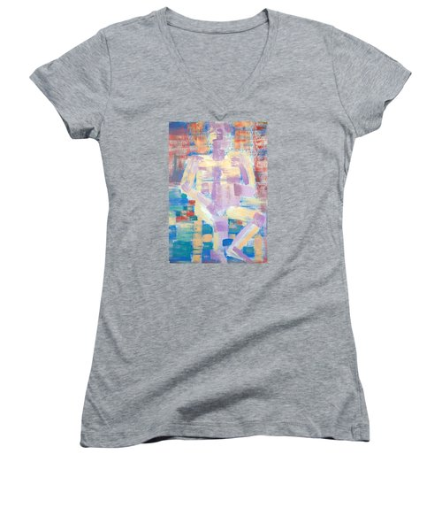 Neville Is Reading A Book Women's V-Neck T-Shirt (Junior Cut) by Tamara Savchenko