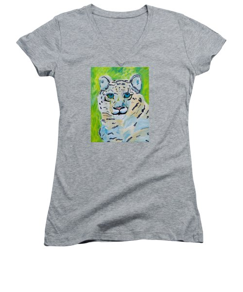 Eyes On You Snow Leopard Women's V-Neck T-Shirt (Junior Cut) by Meryl Goudey