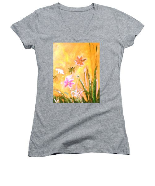 New Daisies Women's V-Neck T-Shirt (Junior Cut) by Winsome Gunning