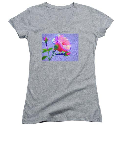 New Dawn Painterly Women's V-Neck T-Shirt (Junior Cut) by Susan Lafleur