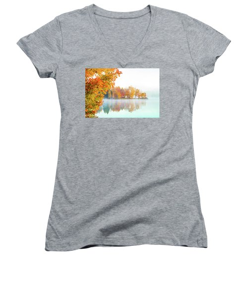 New England Fall Colors Of Maine Women's V-Neck
