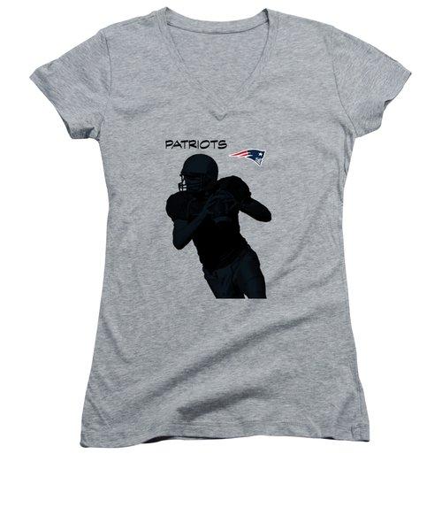 Women's V-Neck T-Shirt (Junior Cut) featuring the digital art New England Patriots Football by David Dehner