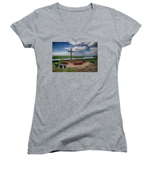 Women's V-Neck T-Shirt (Junior Cut) featuring the photograph New Garden Cross At Belin Umc by Bill Barber