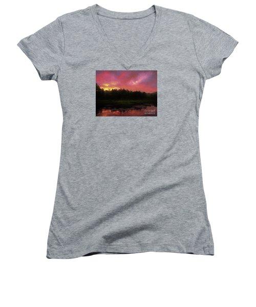 Women's V-Neck T-Shirt (Junior Cut) featuring the photograph New Hampshire Sunrise Glaze by Mim White