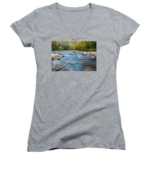 New Hampshire Swift River And Fall Foliage In Autumn Women's V-Neck T-Shirt (Junior Cut) by Ranjay Mitra