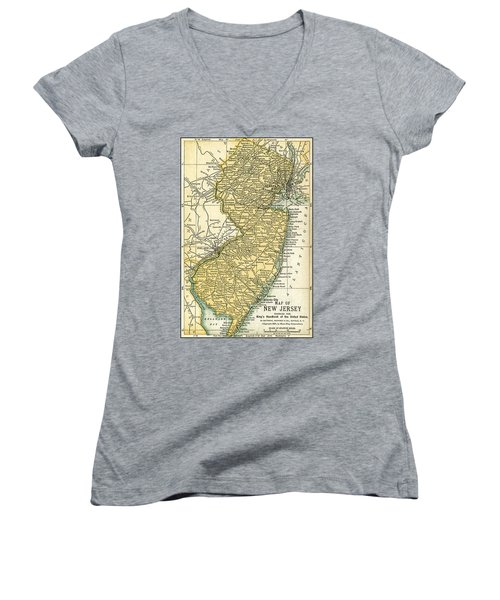 New Jersey Antique Map 1891 Women's V-Neck (Athletic Fit)