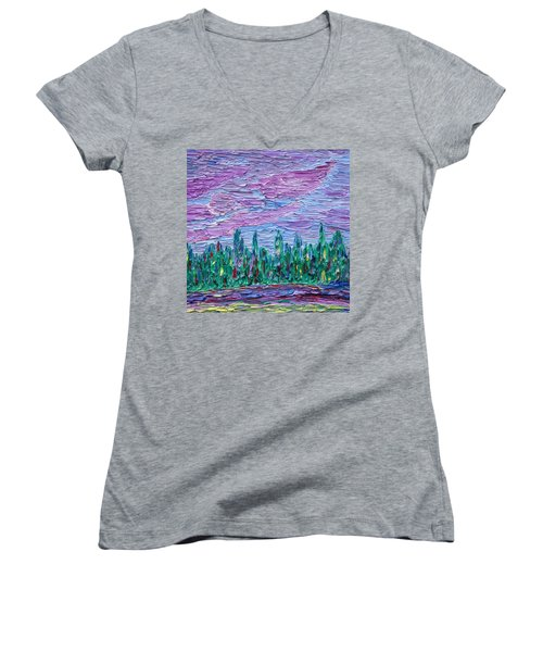 New Jersey Colors Women's V-Neck T-Shirt (Junior Cut) by Vadim Levin