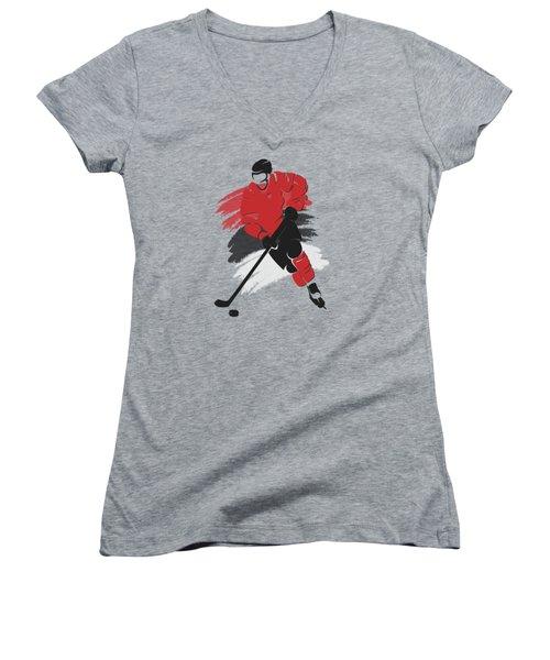 New Jersey Devils Player Shirt Women's V-Neck T-Shirt (Junior Cut) by Joe Hamilton