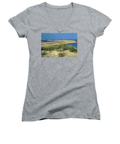 Women's V-Neck T-Shirt (Junior Cut) featuring the photograph New Jersey Inlet  by Sally Weigand