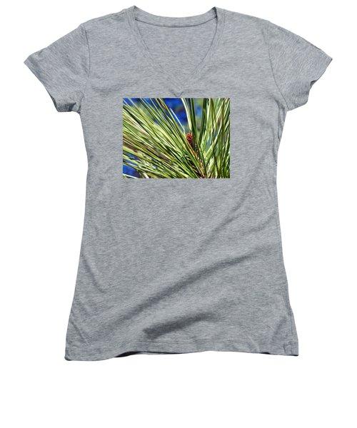Women's V-Neck T-Shirt (Junior Cut) featuring the photograph New Life by Betty Northcutt