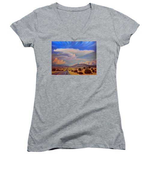 Women's V-Neck T-Shirt (Junior Cut) featuring the painting New Mexico Cloud Patterns by Art James West