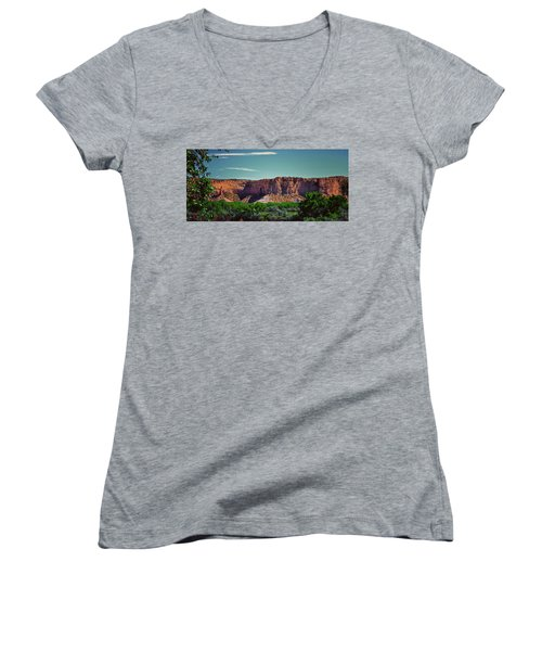 New Mexico Mountains 004 Women's V-Neck T-Shirt (Junior Cut) by George Bostian