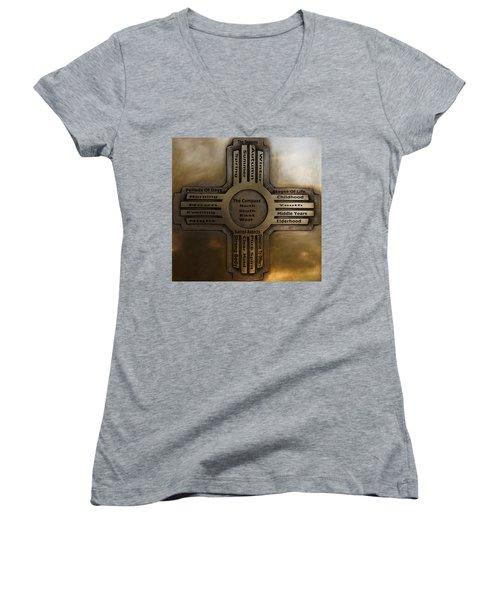 New Mexico State Symbol The Zia Women's V-Neck T-Shirt (Junior Cut) by Joseph Frank Baraba