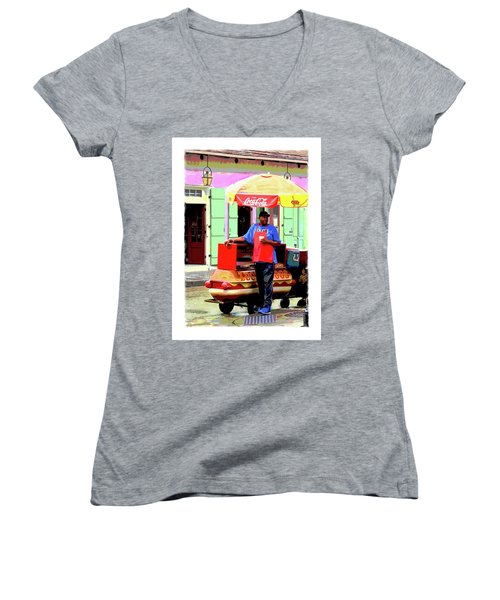 New Orleans Hotdog Vendor Women's V-Neck