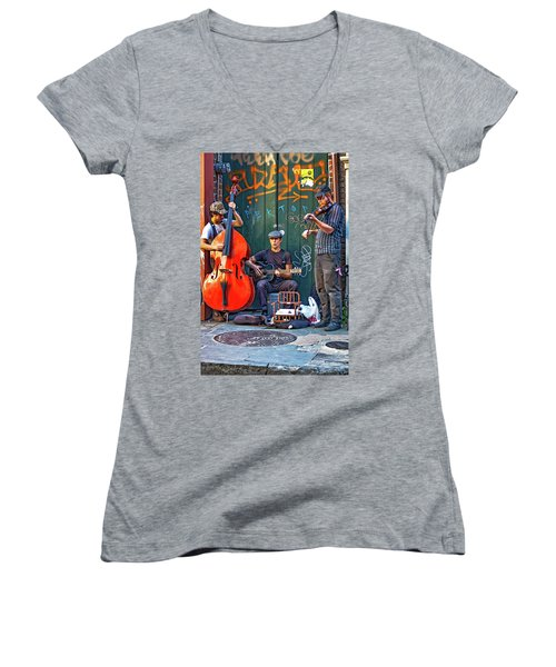 New Orleans Street Musicians Women's V-Neck (Athletic Fit)