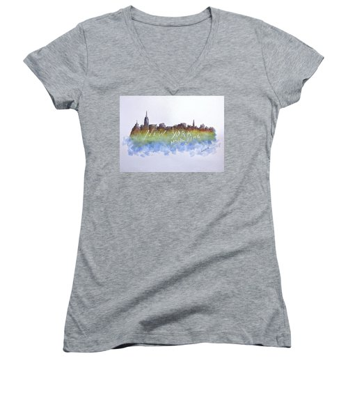New York After Time Women's V-Neck T-Shirt (Junior Cut) by Edwin Alverio