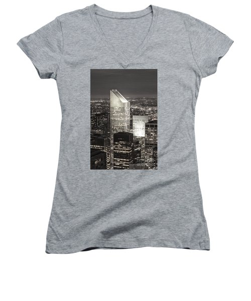 Women's V-Neck featuring the photograph New York Citigroup Center  by Juergen Held
