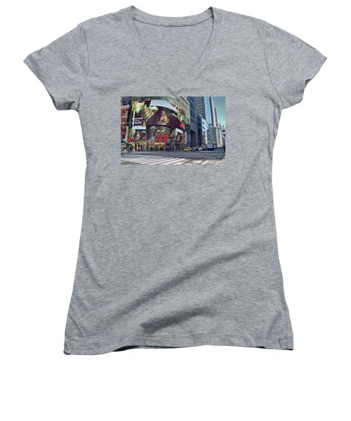 New York City - Broadway And 42nd St Women's V-Neck T-Shirt (Junior Cut) by Dyle Warren