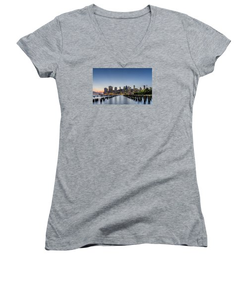 New York City Dusk Women's V-Neck T-Shirt (Junior Cut) by Rafael Quirindongo