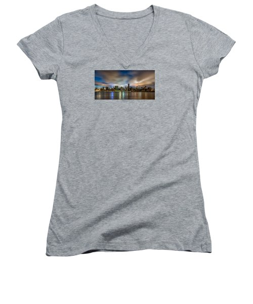 New York City Evening Skyline  Women's V-Neck T-Shirt (Junior Cut) by Rafael Quirindongo
