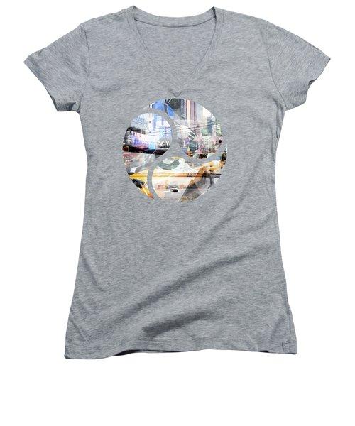 New York City Geometric Mix No. 9 Women's V-Neck T-Shirt (Junior Cut) by Melanie Viola